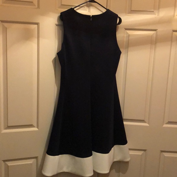 DKNY navy blue and white dress.